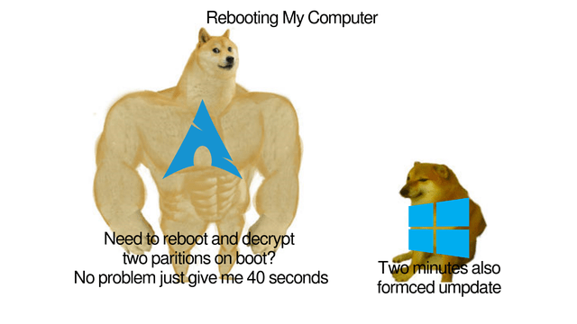 Bear - Rebooting My Computer Need to reboot and decrypt two paritions on boot? No problem just give me 40 seconds Two minutes also formced umpdate