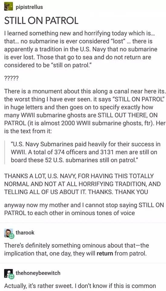 """Text - pipistrellus STILL ON PATROL I learned something new and horrifying today which is. that.. no submarine is ever considered """"lost"""". there is apparently a tradition in the U.S. Navy that no submarine is ever lost. Those that go to sea and do not return are considered to be """"still on patrol."""" ????? There is a monument about this along a canal near here its. the worst thing I have ever seen. it says """"STILL ON PATROL"""" in huge letters and then goes on to specify exactly how many WWII submarine"""