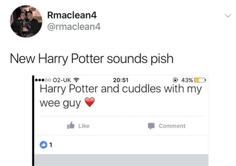 Text - Rmaclean4 @rmaclean4 New Harry Potter sounds pish 00 02-UK ? 20:51 43% Harry Potter and cuddles with my wee guy It Like Comment 1