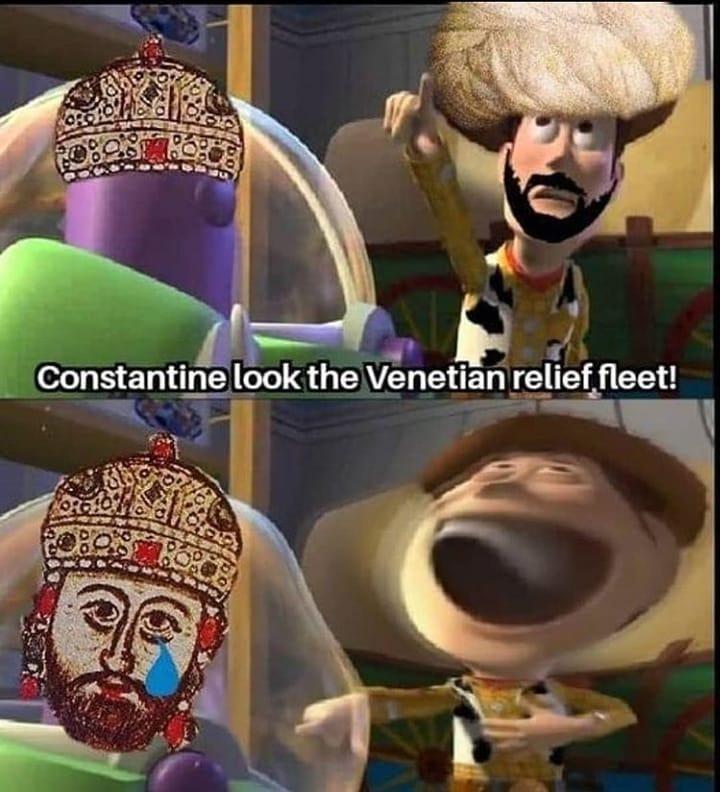 Head - Constantine look the Venetian relief fleet!
