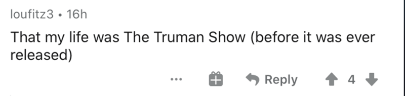 Text - loufitz3 • 16h That my life was The Truman Show (before it was ever released) Reply ...