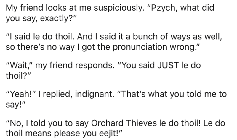 """Text - My friend looks at me suspiciously. """"Pzych, what did you say, exactly?"""" """"I said le do thoil. And I said it a bunch of ways as wellI, so there's no way I got the pronunciation wrong."""" """"Wait,"""" my friend responds. """"You said JUST le do thoil?"""" """"Yeah!"""" I replied, indignant. """"That's what you told me to say!"""" """"No, I told you to say Orchard Thieves le do thoil! Le do thoil means please you eejit!"""""""
