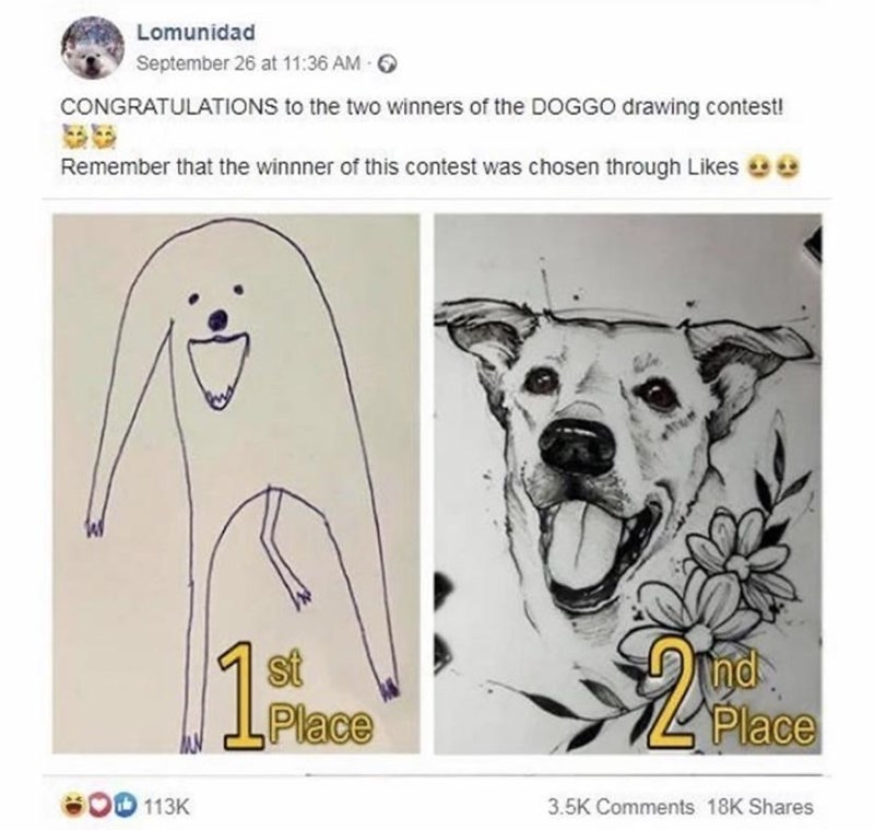 Text - Lomunidad September 26 at 11:36 AM 6 CONGRATULATIONS to the two winners of the DOGGO drawing contest! Remember that the winnner of this contest was chosen through Likes st Place Ind Place 113K 3.5K Comments 18K Shares