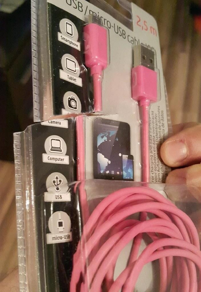 Pink - 2,5m B/iro-USB cahl Smartphone Tablet Tamera Computer USB micro-USB ia de datos