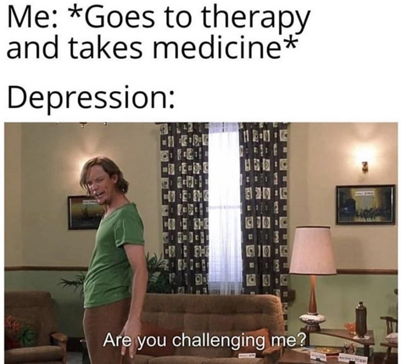 Text - Me: *Goes to therapy and takes medicine* Depression: 12-11 12 1T Are you challenging me? rv WY
