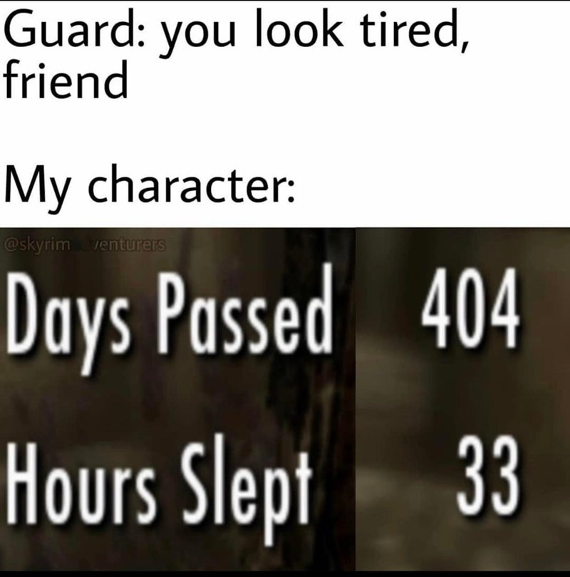 Text - Guard: you look tired, friend My character: @skyrim venturers Days Passed 404 Hours Slept 33