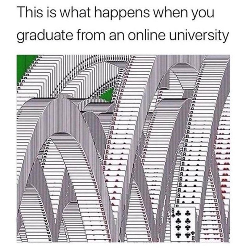 Text - This is what happens when you graduate from an online university of ER 8. B. 8. 18.