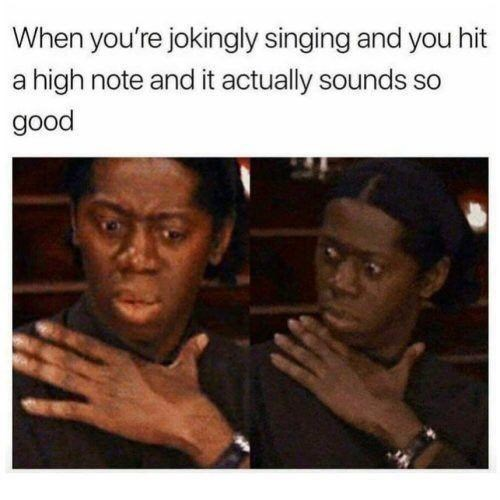 Text - When you're jokingly singing and you hit a high note and it actually sounds so good