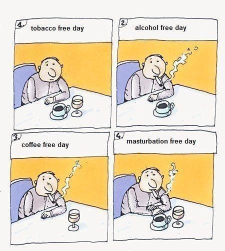 Cartoon - 4. tobacco free day alcohol free day masturbation free day coffee free day のの