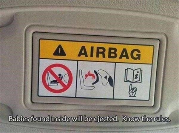 Vehicle registration plate - A AIRBAG Babies found inside will be ejected. Know the rules.