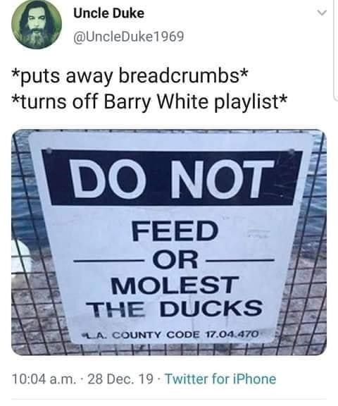 Font - Uncle Duke @UncleDuke1969 *puts away breadcrumbs* *turns off Barry White playlist* DO NOT FEED OR MOLEST THE DUCKS LA. COUNTY CODE 17.04.470 10:04 a.m. 28 Dec. 19 - Twitter for iPhone