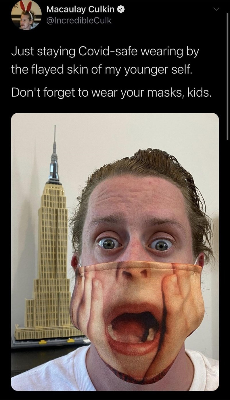 Face - Macaulay Culkin O @IncredibleCulk Just staying Covid-safe wearing by the flayed skin of my younger self. Don't forget to wear your masks, kids.
