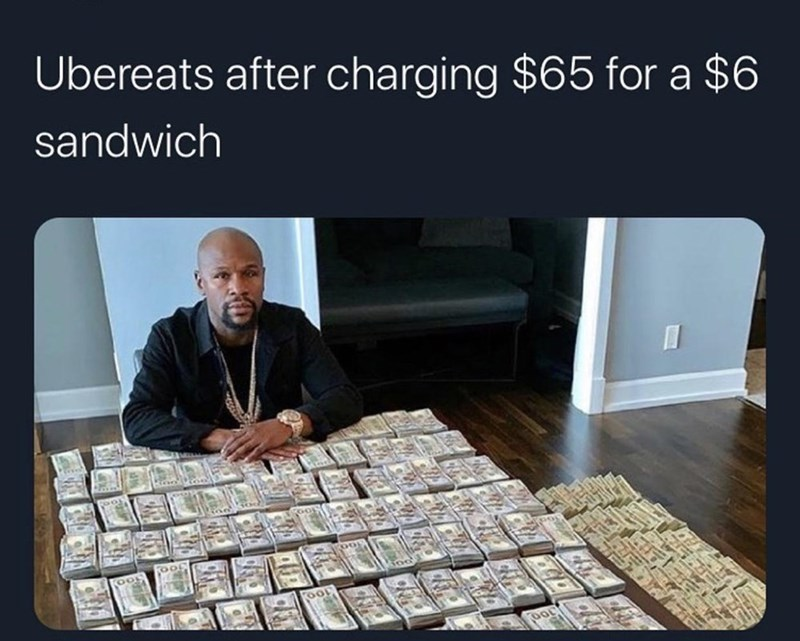 Text - Ubereats after charging $65 for a $6 sandwich