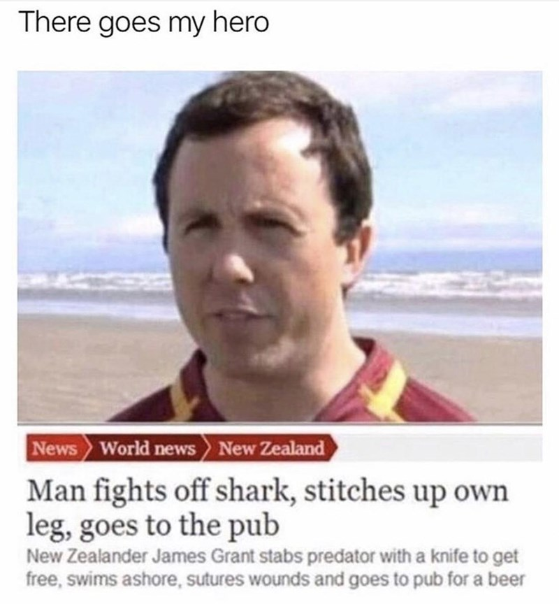 Text - There goes my hero News World news New Zealand Man fights off shark, stitches up own leg, goes to the pub New Zealander James Grant stabs predator with a knife to get free, swims ashore, sutures wounds and goes to pub for a beer