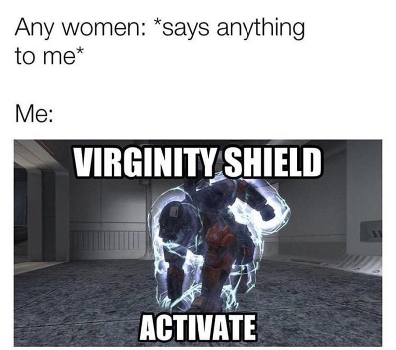 Text - Any women: *says anything to me* Me: VIRGINITY SHIELD ACTIVATE