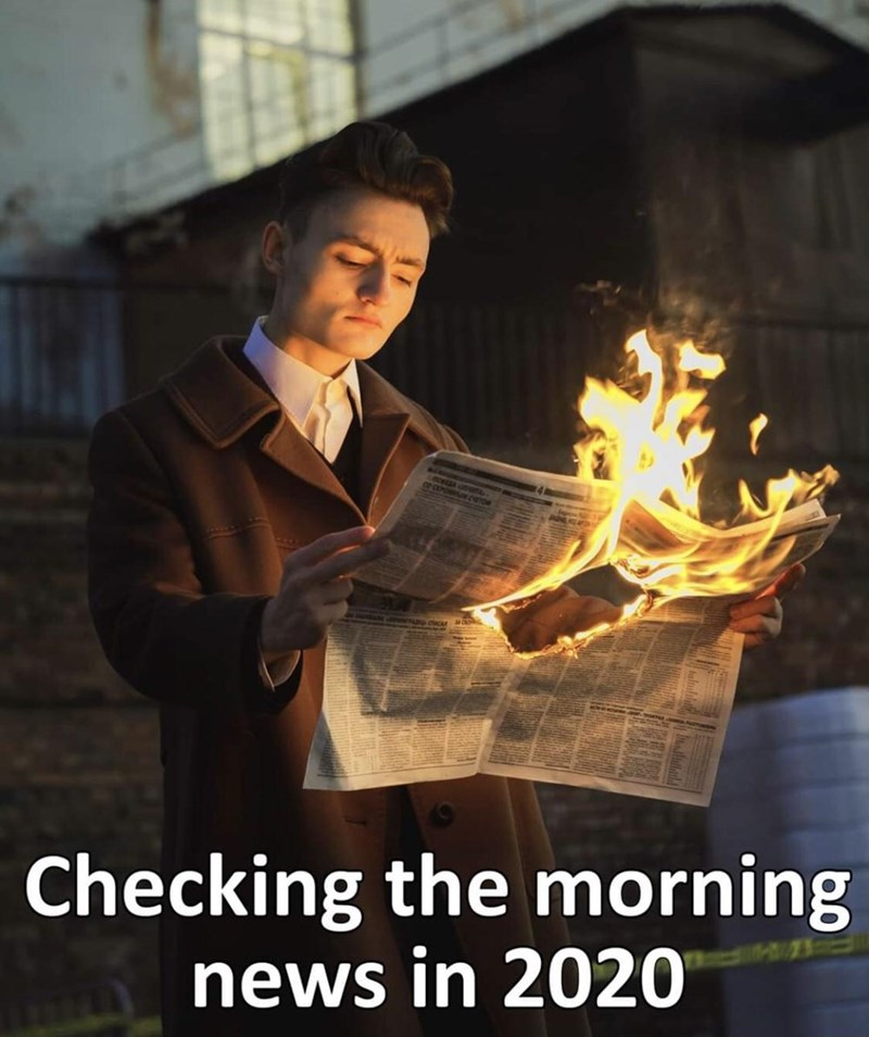 Human - DcOntsioaN CRETOR Checking the morning news in 2020