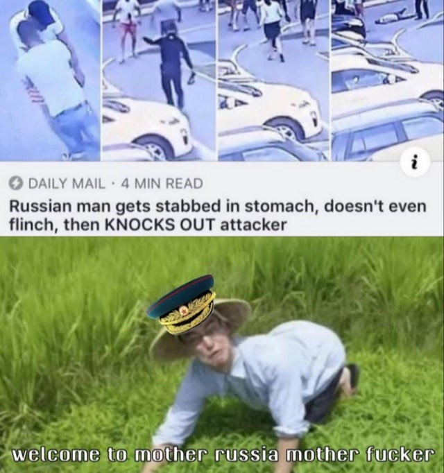 Grass - DAILY MAIL 4 MIN READ Russian man gets stabbed in stomach, doesn't even flinch, then KNOCKS OUT attacker welcome to mother russia mother fucker