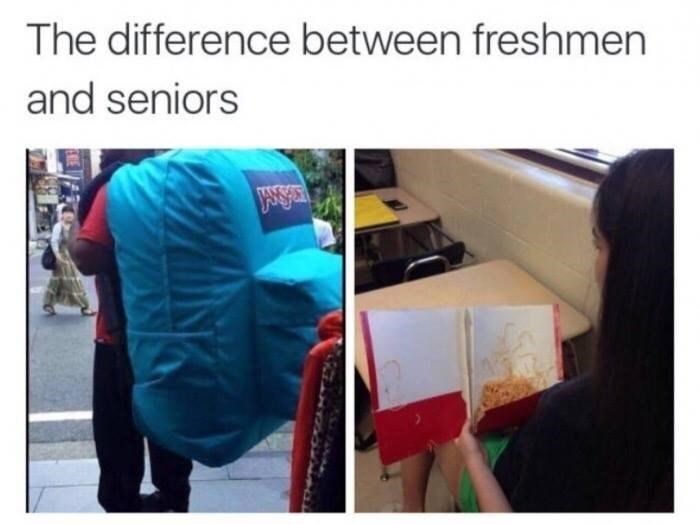 Product - The difference between freshmen and seniors