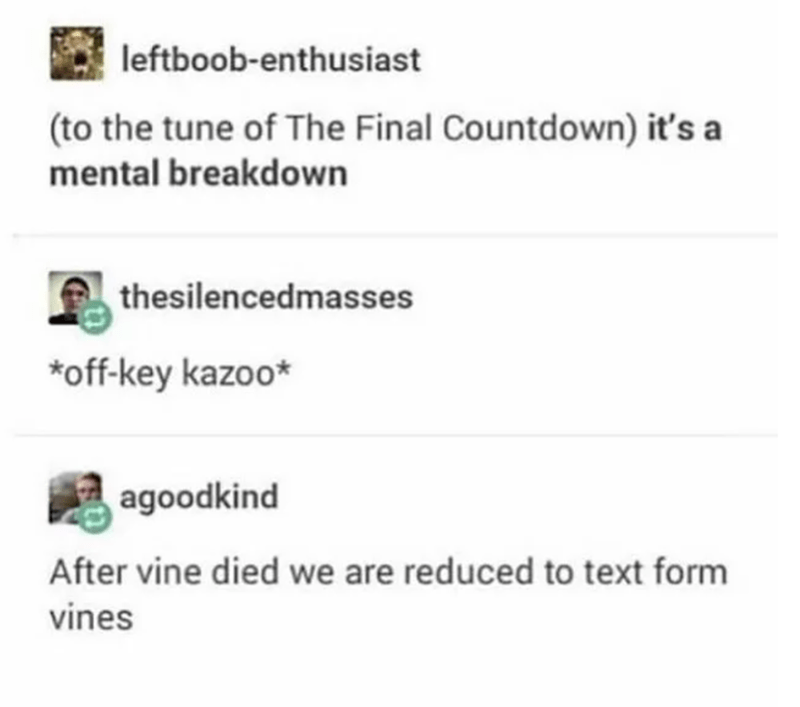 Text - leftboob-enthusiast (to the tune of The Final Countdown) it's a mental breakdown thesilencedmasses *off-key kazoo* agoodkind After vine died we are reduced to text form vines