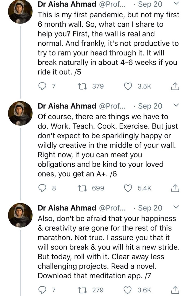 Text - Dr Aisha Ahmad @Prof... · Sep 20 This is my first pandemic, but not my first 6 month wall. So, what can I share to help you? First, the wall is real and normal. And frankly, it's not productive to try to ram your head through it. It will break naturally in about 4-6 weeks if you ride it out. /5 7 27 379 3.5K Dr Aisha Ahmad @Prof... · Sep 20 Of course, there are things we have to do. Work. Teach. Cook. Exercise. But just don't expect to be sparklingly happy or wildly creative in the middle