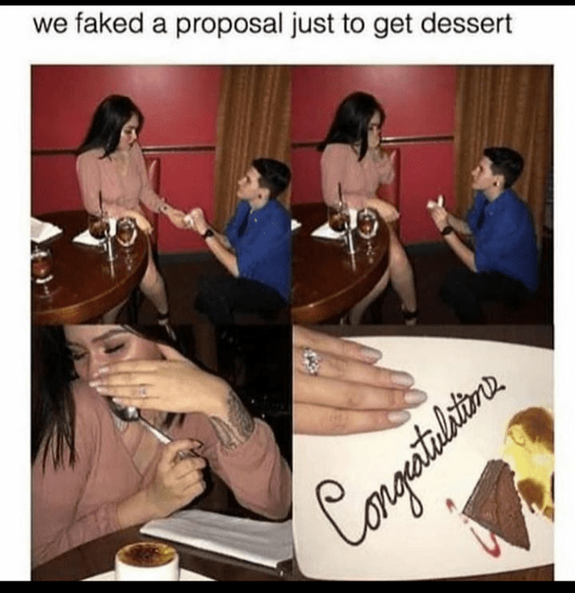 Text - we faked a proposal just to get dessert ngertulitan.