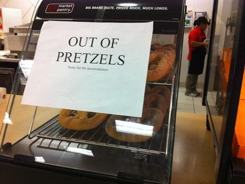 Font - market pantry BIG BRAND TASTE. PRICED MUCH, MUCH LOWER. OUT OF PRETZELS Sory for the incovemience