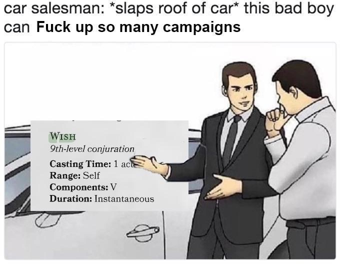 Text - car salesman: *slaps roof of car* this bad boy can Fuck up so many campaigns WISH 9th-level conjuration Casting Time: 1 act Range: Self Components: V Duration: Instantaneous