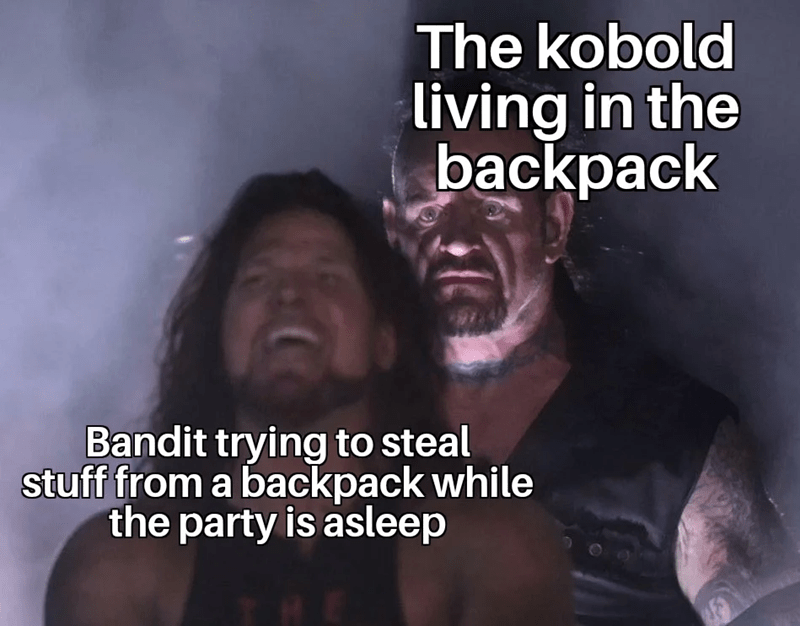 Photo caption - The kobold living in the backpack Bandit trying to steal stuff from a backpack while the party is asleep