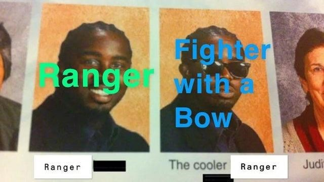 Text - ange Fighier with a Bow Ranger The cooler Ranger Judi