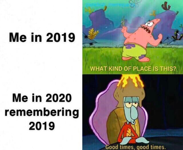 Cartoon - Me in 2019 WHAT KIND OF PLACE IS THIS? Me in 2020 remembering 2019 Good times, good times.