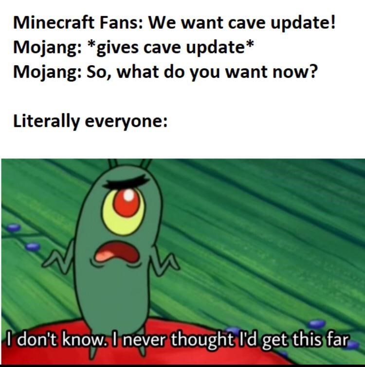 Text - Minecraft Fans: We want cave update! Mojang: *gives cave update* Mojang: So, what do you want now? Literally everyone: I don't know, I never thought I'd get this far