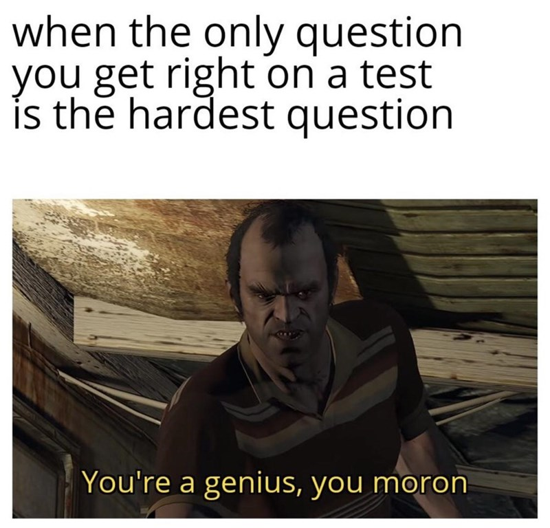 Text - when the only question you get right on a test is the hardest question You're a genius, you moron