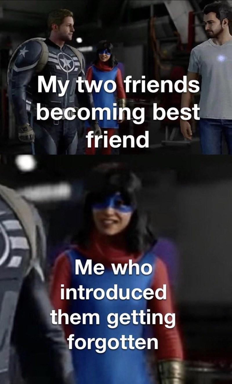 Photo caption - My two friends becoming best friend Me who introduced them getting forgotten