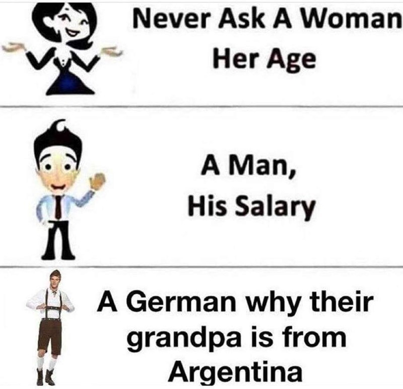 Cartoon - Never Ask A Woman Her Age A Man, His Salary A German why their grandpa is from Argentina