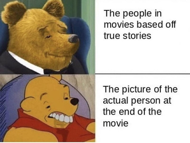 Cartoon - The people in movies based off true stories The picture of the actual person at the end of the movie