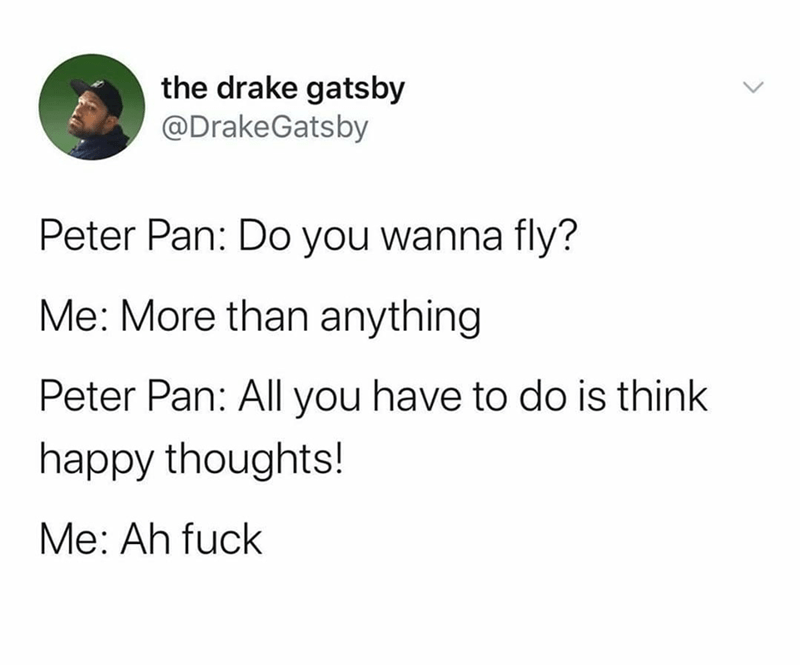 Text - the drake gatsby @DrakeGatsby Peter Pan: Do you wanna fly? Me: More than anything Peter Pan: All you have to do is think happy thoughts! Me: Ah fuck <>