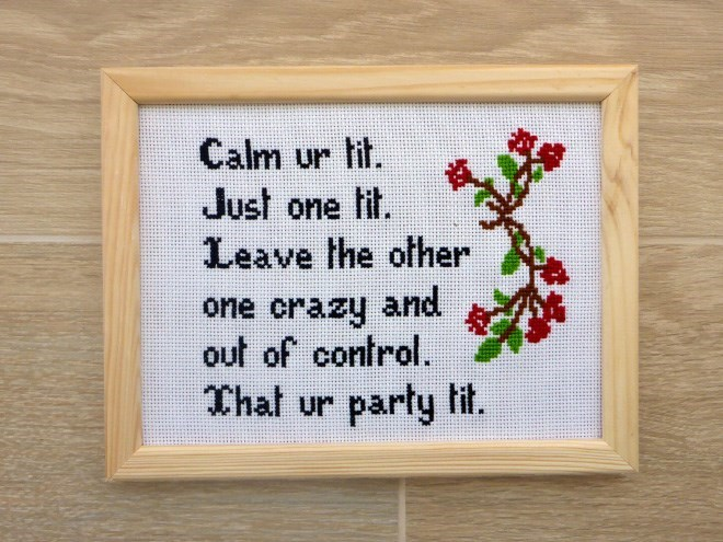 Cross-stitch - Calm ur lit. Just one fif. Leave the ofher one crazy and out of control. That ur party fit.