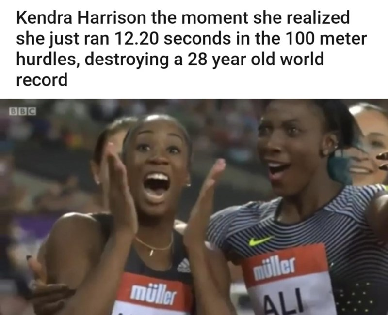 Athlete - Kendra Harrison the moment she realized she just ran 12.20 seconds in the 100 meter hurdles, destroying a 28 year old world record BBC müller müller ALI