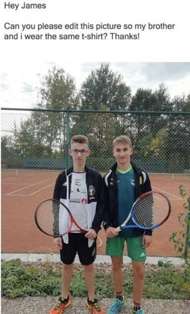 Tennis - Hey James Can you please edit this picture so my brother and i wear the same t-shirt? Thanks! AUHOLE 10