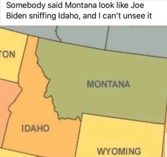 Text - Somebody said Montana look like Joe Biden sniffing Idaho, and I can't unsee it TON MONTANA IDAHO WYOMING