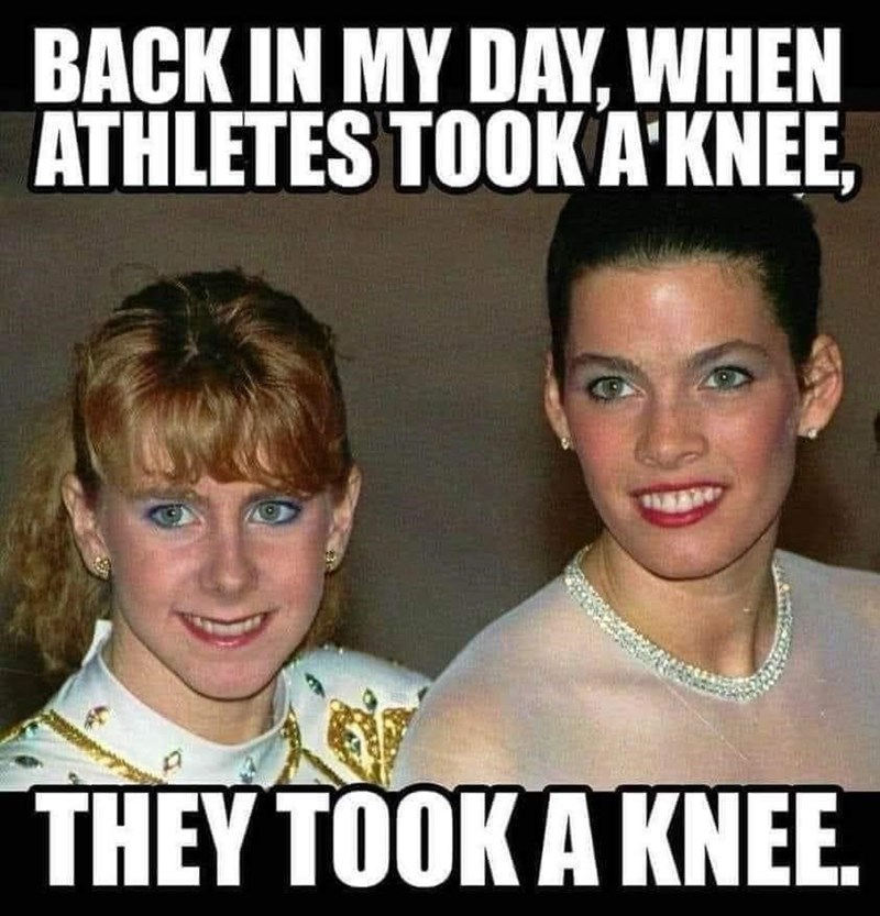 Photo caption - BACK IN MY DAY, WHEN ATHLETES TOOKAKNEE, THEY TOOK A KNEE.
