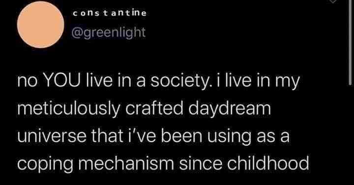 Text - constantin e @greenlight no YOU live in a society. i live in my meticulously crafted daydream universe that i've been using as a coping mechanism since childhood