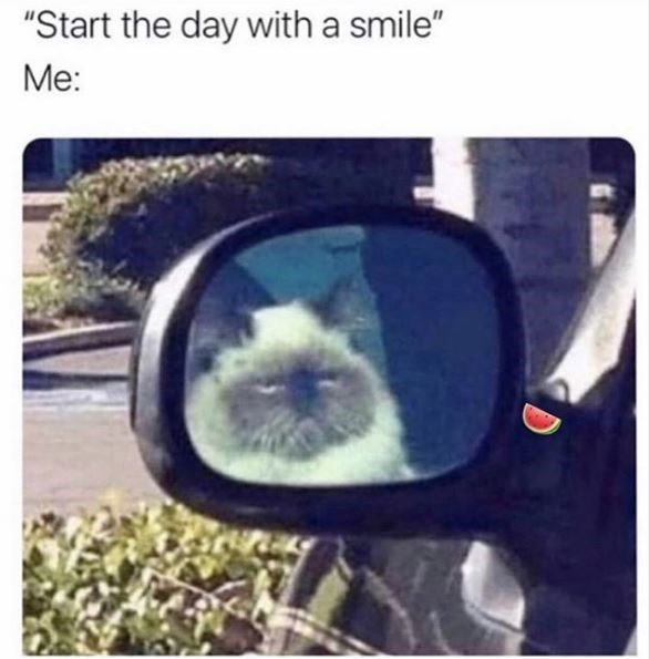 """Selfie - """"Start the day with a smile"""" Me:"""