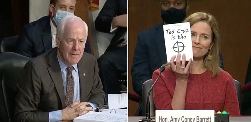 Forehead - Ted Cruz is the Hon, Amy Coney Barrett