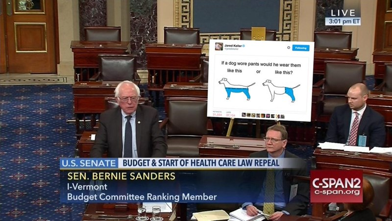 News - LIVE 3:01 pm ET Jared Keller W edbeter Folowing If a dog wore pants would he wear them like this like this? or 31 54 U.S. SENATE BUDGET & START OF HEALTH CARE LAW REPEAL SEN. BERNIE SANDERS C-SPAN2 |-Vermont C-span.org Budget Committee Ranking Member