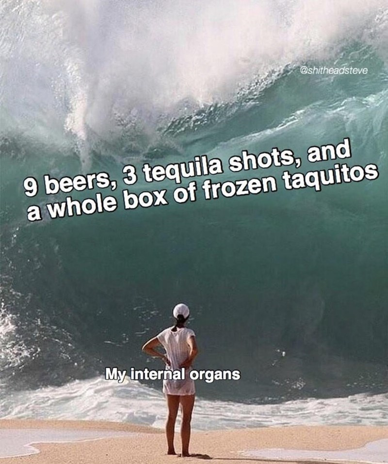 Wave - @shitheadsteve 9 beers, 3 tequila shots, and a whole box of frozen taquitos My internal organs