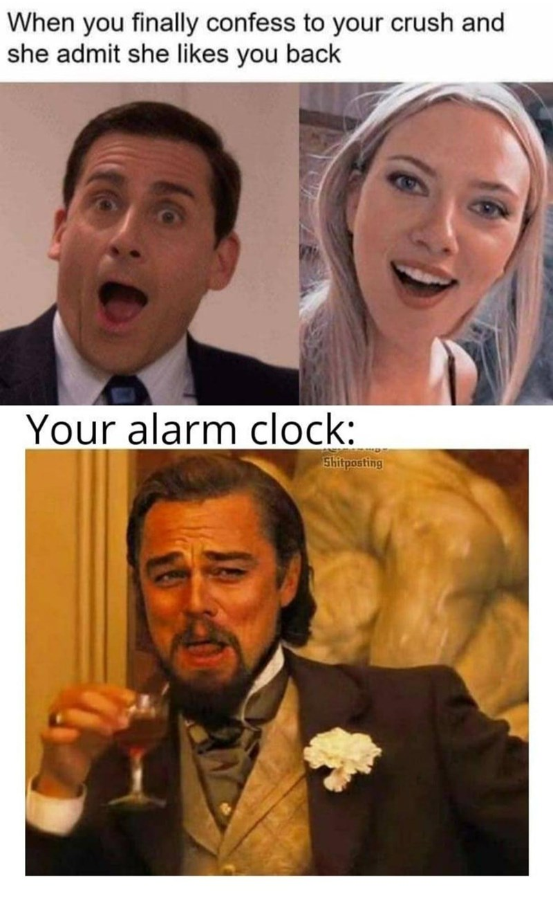 Facial expression - When you finally confess to your crush and she admit she likes you back Your alarm clock: Shitposting