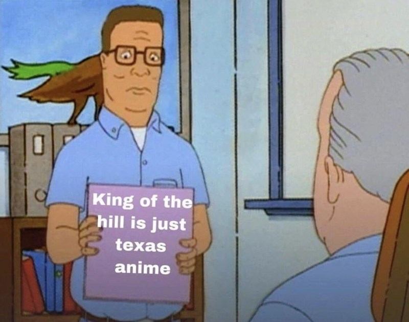 Animated cartoon - King of the hill is just texas anime
