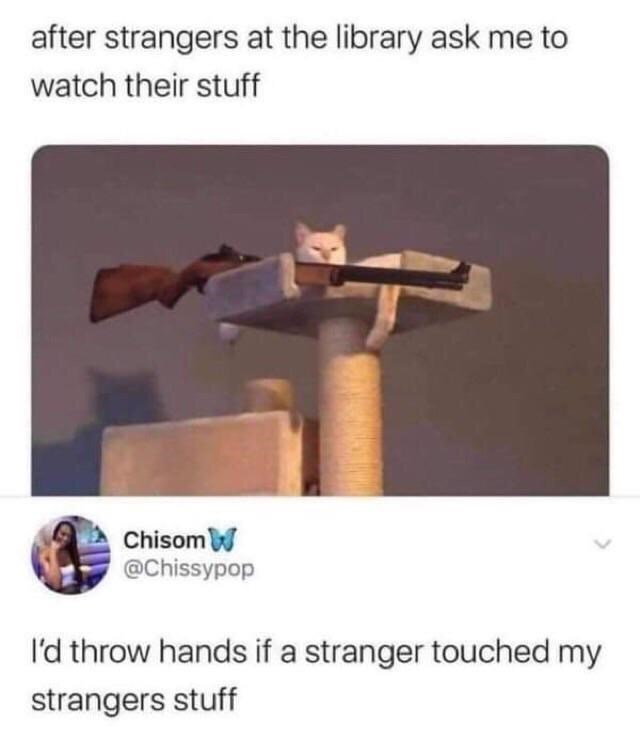 Product - after strangers at the library ask me to watch their stuff ChisomW @Chissypop I'd throw hands if a stranger touched my strangers stuff