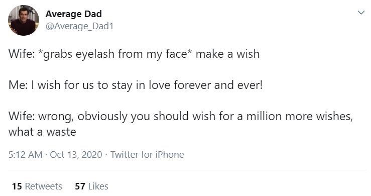 Text - Average Dad @Average_Dad1 Wife: *grabs eyelash from my face* make a wish Me: I wish for us to stay in love forever and ever! Wife: wrong, obviously you should wish for a million more wishes, what a waste 5:12 AM Oct 13, 2020 Twitter for iPhone 15 Retweets 57 Likes